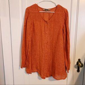 •Flax• orange linen button down tunic shirt